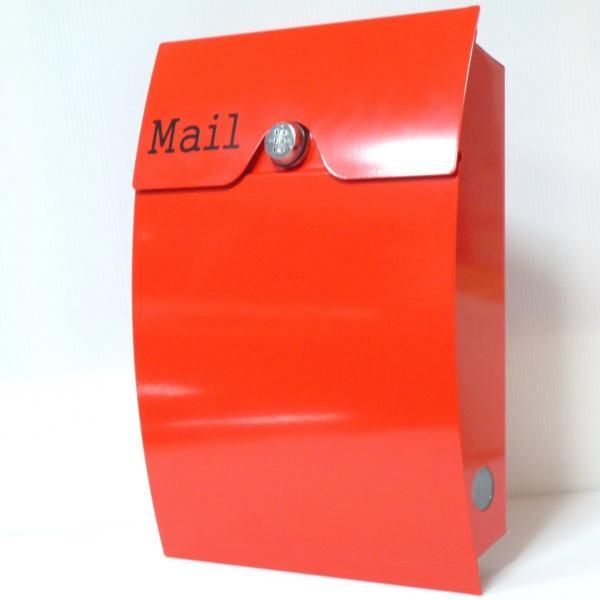 郵便ポスト郵便受けおしゃれかわいい人気北欧モダンデザインメールボックス壁掛けダイヤル錠付きプレミアムステンレスレッド赤色ポストpm164