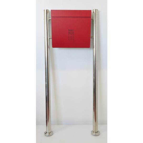 郵便ポスト郵便受けおしゃれかわいい人気北欧モダンデザインメールボックススタンド型マグネット付きバイカラーレッド赤色ポスト新pm173s|ihome