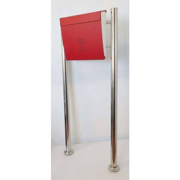 郵便ポスト郵便受けおしゃれかわいい人気北欧モダンデザインメールボックススタンド型マグネット付きバイカラーレッド赤色ポスト新pm173s|ihome|02