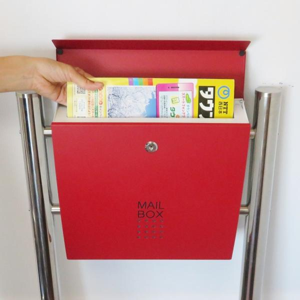 郵便ポスト郵便受けおしゃれかわいい人気北欧モダンデザインメールボックススタンド型マグネット付きバイカラーレッド赤色ポスト新pm173s|ihome|05