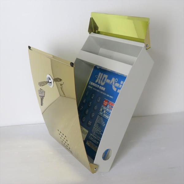郵便ポスト郵便受けおしゃれかわいい人気北欧モダンデザインメールボックス壁掛け チタン鏡面ゴールド色ポストp27 ihome 04