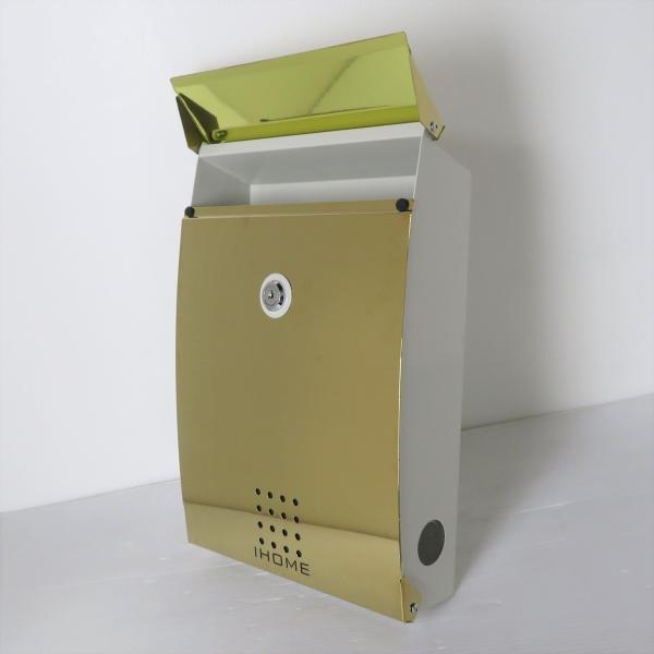 郵便ポスト郵便受けおしゃれかわいい人気北欧モダンデザインメールボックス壁掛け チタン鏡面ゴールド色ポストp27 ihome 05