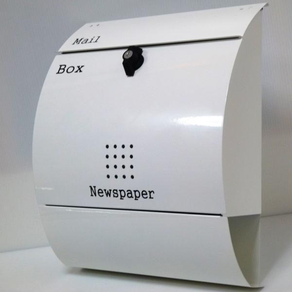 セール10月31日まで 郵便ポスト郵便受けおしゃれかわいい人気北欧大型メールボックス 壁掛けプレミアムステンレス ホワイト白色ポストpm033