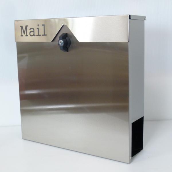 セール10月31日まで 郵便ポスト郵便受けおしゃれかわいい人気北欧大型メールボックス 壁掛けプレミアムステンレスシルバーステンレス色ポストpm151