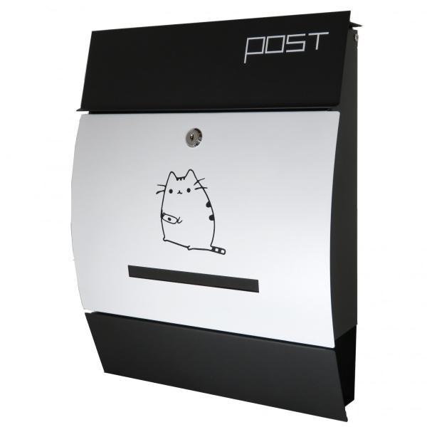 夏セール8月31日まで 郵便ポスト郵便受けおしゃれかわいい人気北欧大型メールボックス 壁掛け鍵付きマグネット付きホワイト白色猫柄ポストpm195