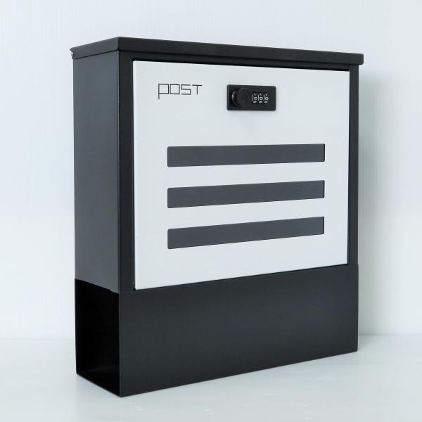 郵便ポスト郵便受けおしゃれかわいい人気北欧モダンデザインメールボックス 壁掛けダイヤル錠付き  ホワイト白色ポストpm222