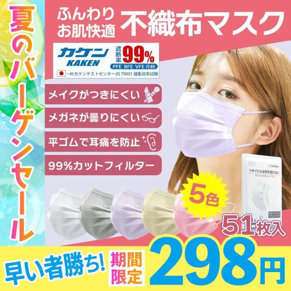 マスク50枚不織布マスク血色マスクカラーマスク箱入り日本BFE99%大人用メンズレディース三層構造ウイルス花粉対策飛沫防止抗菌セ