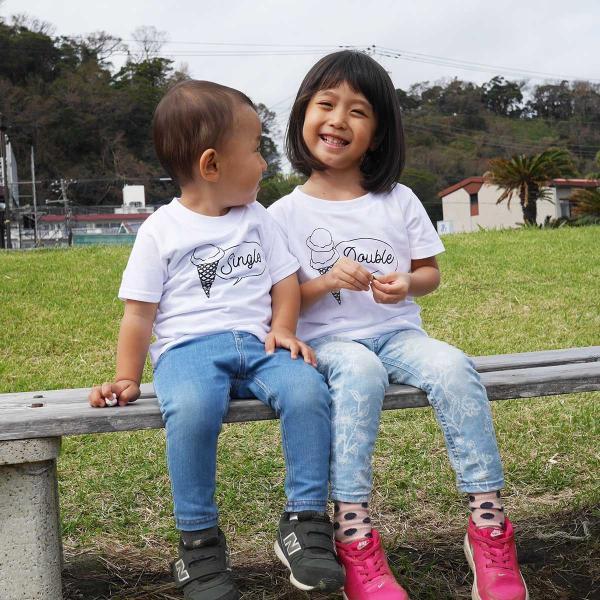 2人兄弟姉妹でおそろいアイスクリームTシャツ2枚組