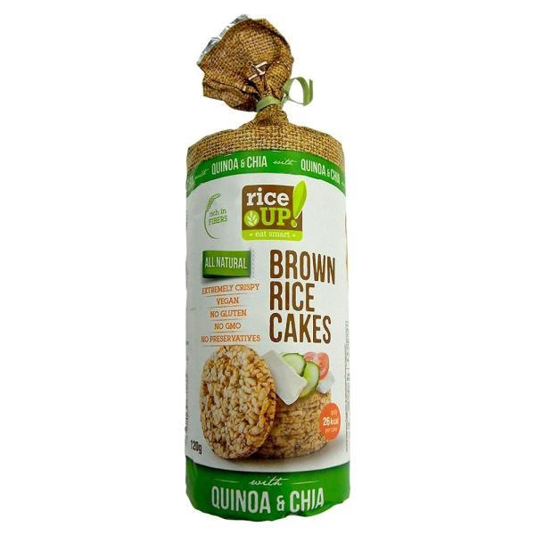 rice UP(ライスアップ) ブラウンライスケーキ(米菓子) キヌア&チアシード 120g×12袋 3800233070033 おやつ ノンフライ 保存料