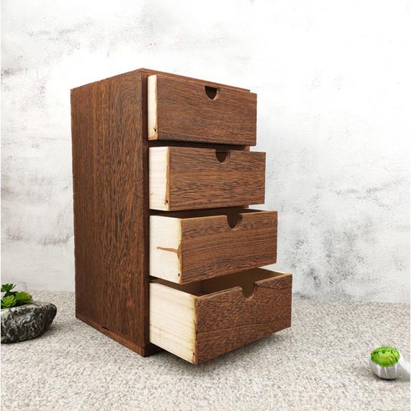 木製収納ボックスミニ引き出し小型チェスト小型収納ボックス卓上収納ボックス小物入れ引出し箱木製引き出し(四段引き出し)