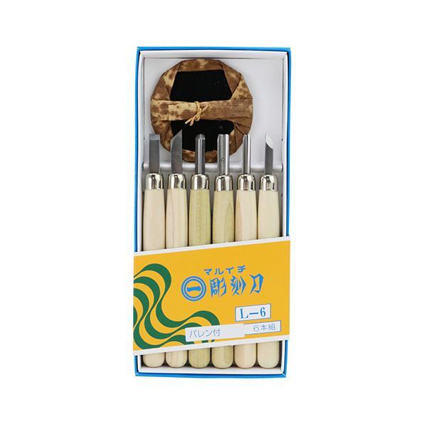 インテックカネキ まるいち 彫刻刀セット L−6 版画 彫刻堀り 等 工作 美術 彫刻 授業 刃 は 全鋼製 です 注水式刃付け法 切れ味 抜群