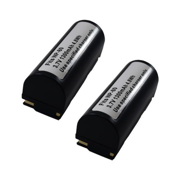 2個セット フジフィルム(FUJIFILM) NP-80 互換バッテリー