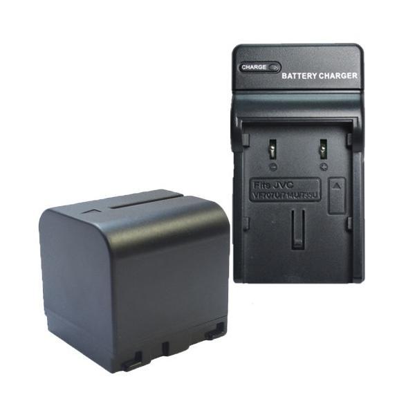 充電器セット ビクター(JVC) BN-VF714/BN-VF714L 互換バッテリー+充電器(コンパクト)