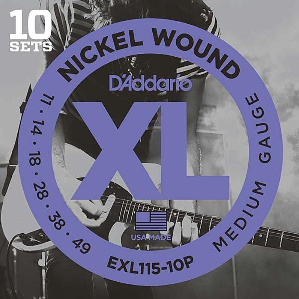 D'Addario XL Nickel Multi-Packs Electric Guitar Strings EXL115-10P (10 Set Pack)