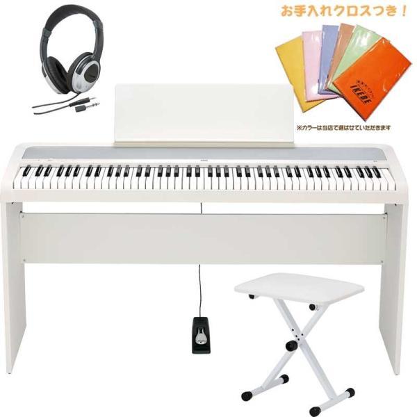 KORG B2-WH コルグ 電子ピアノ 純正スタンド+X型イスセット(お手入れクロス、ヘッドホン付き)(沖縄・離島送料お見積もり/代引き不可)(KBD)