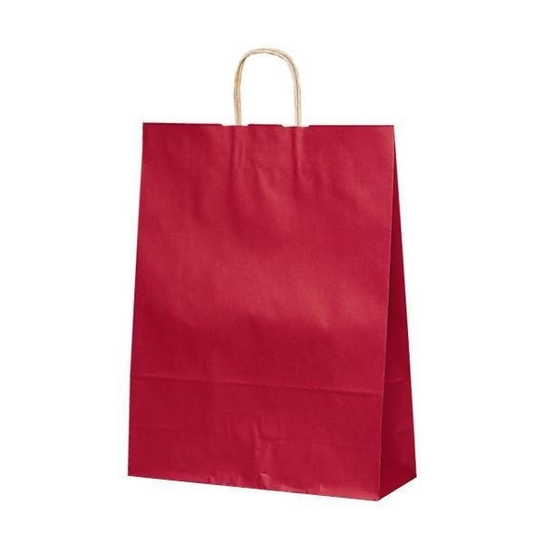 T-12 自動紐手提袋 紙袋 紙丸紐タイプ 380×145×500mm 代引き不可 赤 200枚 カラー 1447 買物 倉
