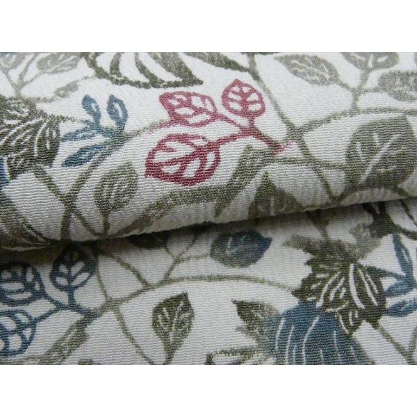 きもの 洗える 着物 小紋 反物 テイジン 薄緑色に草葉柄 広幅 170