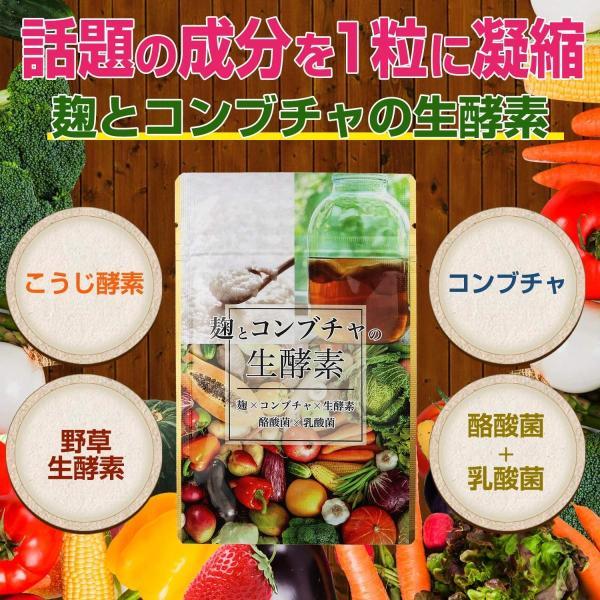 酵素 サプリ 麹酵素 麹とコンブチャの生酵素 30日分 協和食研 コンブチャ こうじ酵素 ikesma 02