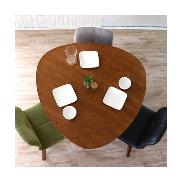 ダイニングテーブルセット 4点 三角形 3人用 回転椅子 アンティーク風 北欧風 カフェ風|ikikagu|02