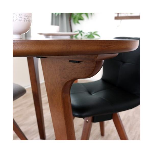 ダイニングテーブルセット 4点 三角形 3人用 回転椅子 アンティーク風 北欧風 カフェ風|ikikagu|03