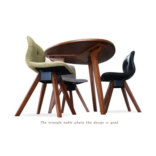 ダイニングテーブルセット 4点 三角形 3人用 回転椅子 アンティーク風 北欧風 カフェ風|ikikagu|08