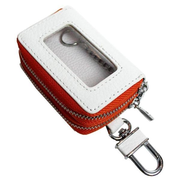送料無料 AWESOME(オーサム) スマートキーケース クリア窓付きダブルファスナータイプ ホワイト×オレンジ ASK-CMW019