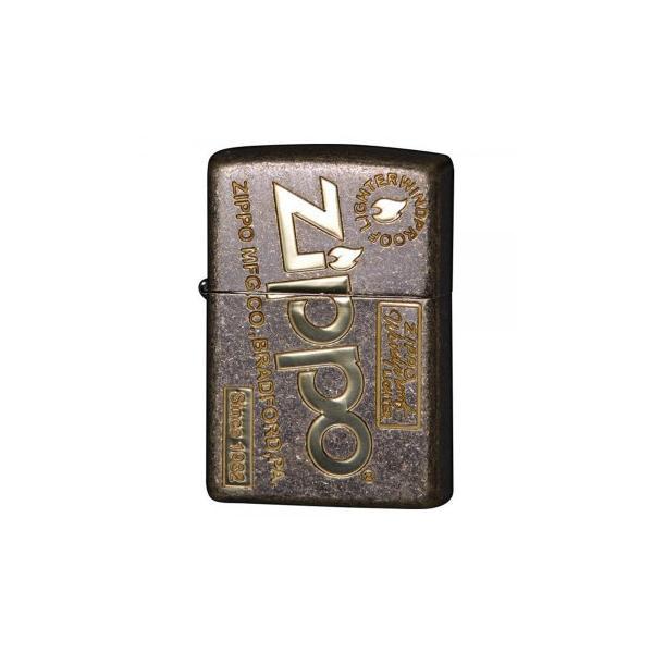 送料無料 ZIPPO(ジッポー)ライター アンティークオールドZIPPOロゴ 真鍮メッキ 2BB-ZLOGOFL