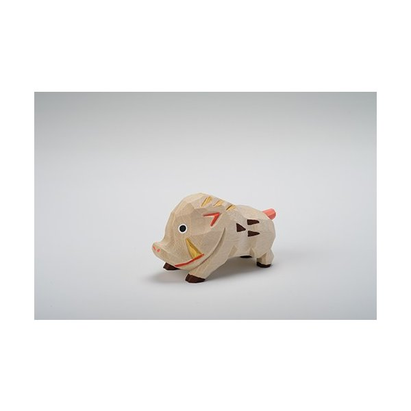 干支置物「亥」(いのしし)小サイズ/奈良一刀彫/楠/人形/猪/イノシシ/いのしし/亥|ikkisya