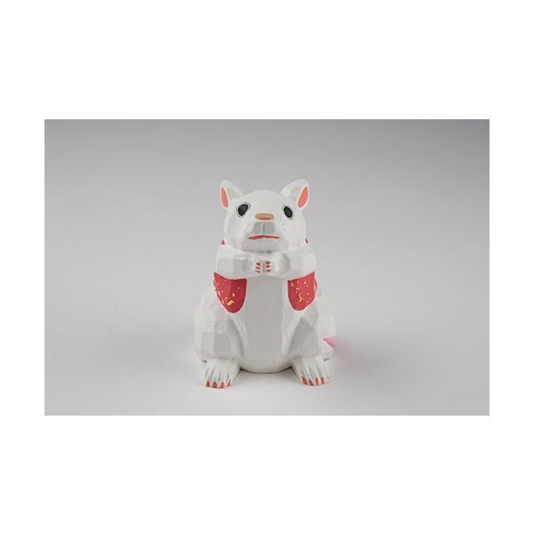 干支置物「子」ねずみ(白)大サイズ/奈良一刀彫/楠/人形/白/ネズミ/ねずみ/鼠/子|ikkisya