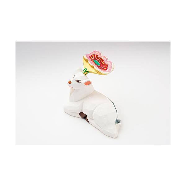 置き物「花鹿(白)花ピンク」大サイズ/一刀彫/奈良/置き物/木地/はなじか/ハナジカ/花鹿(白)花ピンク|ikkisya|05