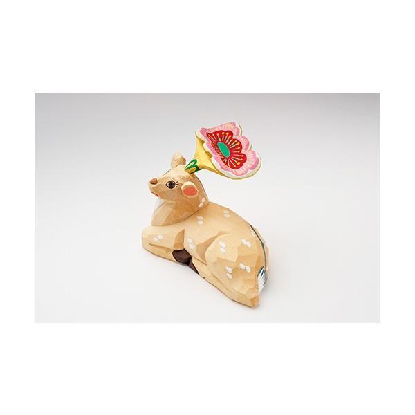 置き物「花鹿(木地)花ピンク」大サイズ/一刀彫/奈良/置き物/木地/はなじか/ハナジカ/花鹿(木地)花ピンク|ikkisya|05