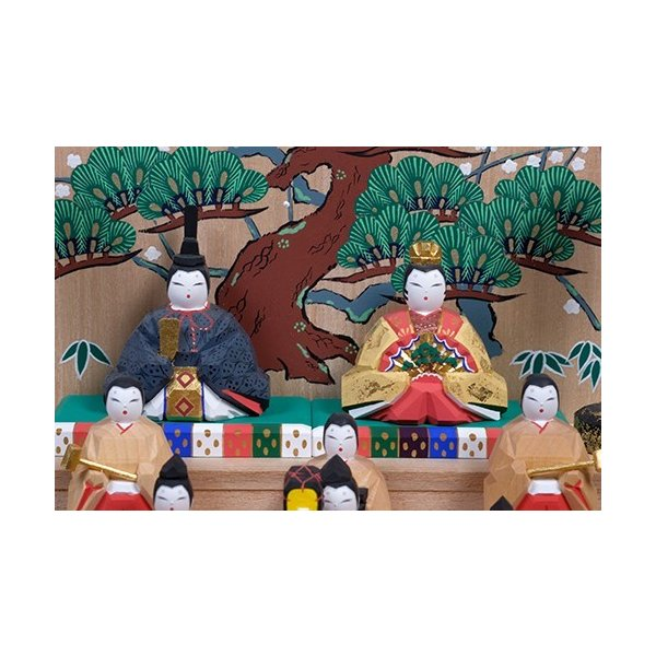 雛人形「五段飾雛」大サイズ/一刀彫/奈良/十五人飾り/ひな人形|ikkisya|02