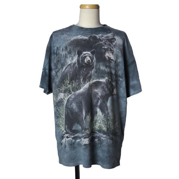 熊 タイダイ染め Tシャツ 半袖 メンズXL 古着 アニマルプリント|ikokuya