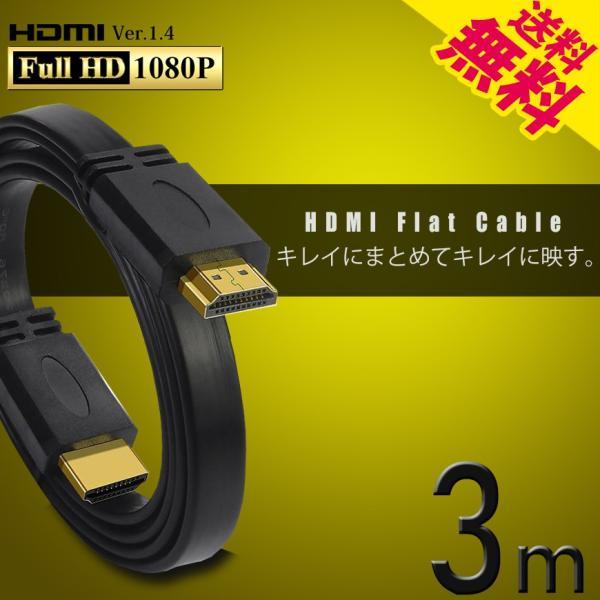 HDMIケーブル薄型スリムフラット3m3メートル4K3D/フルハイビジョン