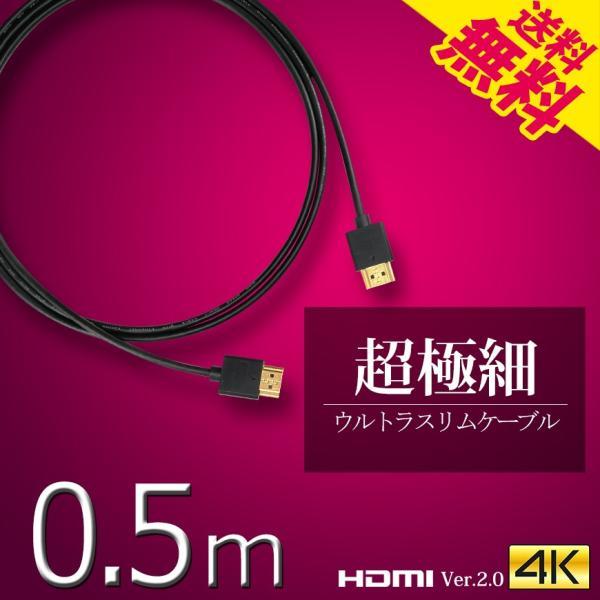 HDMIケーブルスーパーウルトラスリム0.5m50cm極細ケーブル直径約3mmVer2.04K60Hz任天堂switchPS4X