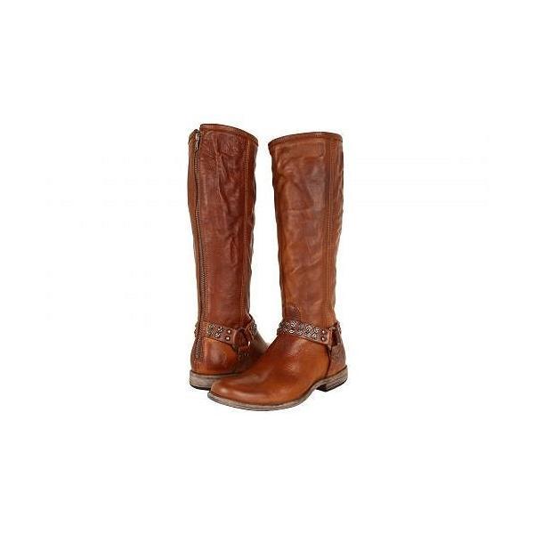 Frye フライ レディース 女性用 シューズ 靴 ブーツ ロングブーツ Phillip Studded Harness Tall - Cognac Soft Vintage Leather