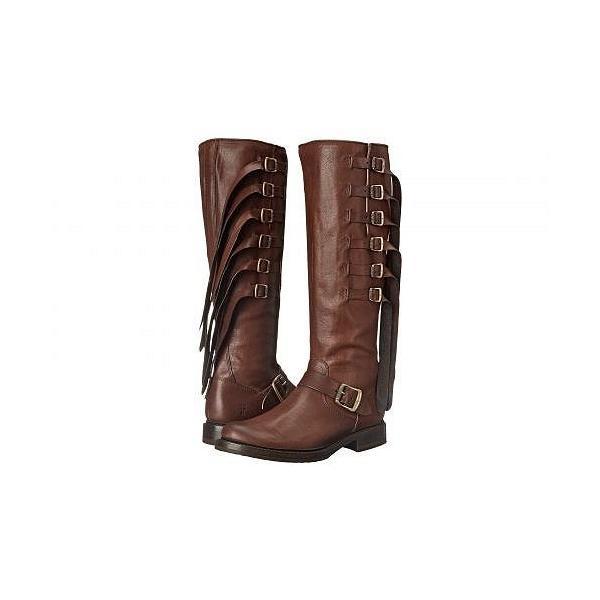 Frye フライ レディース 女性用 シューズ 靴 ブーツ ライダーブーツ Veronica Strap Tall - Chocolate Tumbled Full Grain