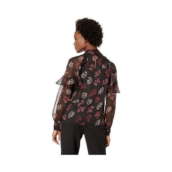 Vince Camuto Specialty Size ヴィンスカムート レディース 女性用 ファッション ブラウス Petite Long Sleeve Ruffle Shoulder Tie Neck Stamp Floral Blouse