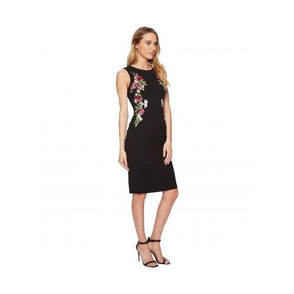 Adrianna Papell アドリアナパペル レディース 女性用 ファッション ドレス Knit Crepe Embroidered Sheath - Black