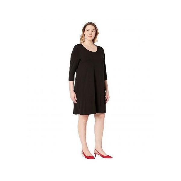 Karen Kane Plus カレンケーン レディース 女性用 ファッション ドレス Plus Size 3/4 Sleeve T-Shirt Dress - Black