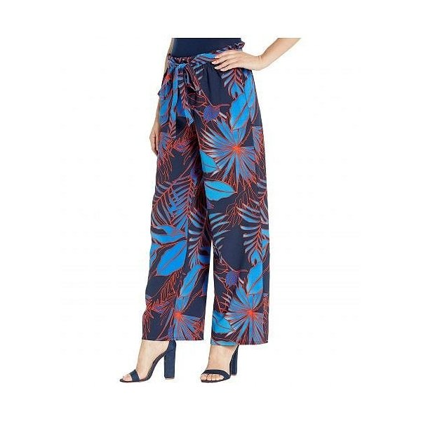 eci レディース 女性用 ファッション パンツ ズボン Paper Bag Waist Tropical Stretch Pants - Navy