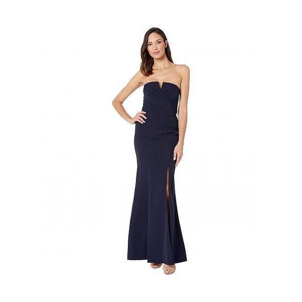 Vince Camuto ヴィンスカムート レディース 女性用 ファッション ドレス Sleeveless Keyhole Sheath Gown - Navy|ilovela|01