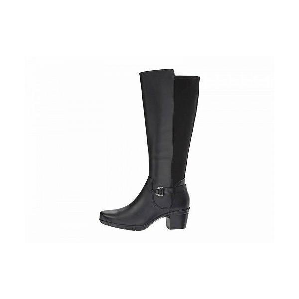 Clarks クラークス レディース 女性用 シューズ 靴 ブーツ ロングブーツ Emslie March Wide Calf - Black Leather