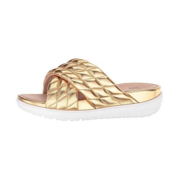 FitFlop フィットフロップ レディース 女性用 シューズ 靴 サンダル Loosh Luxe(TM) Cross Slide Leather Sandals - Gold Metallic Leather