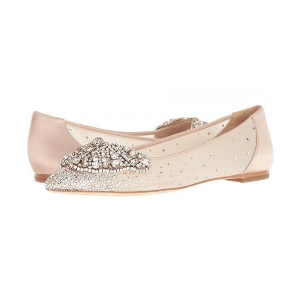 Badgley Mischka バッジリーミシュカ レディース 女性用 シューズ 靴 フラット Quinn - Latte Satin/Mesh