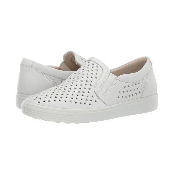 ECCO エコー レディース 女性用 シューズ 靴 スニーカー 運動靴 Soft 7 Laser Cut Slip-On - White Cow Leather