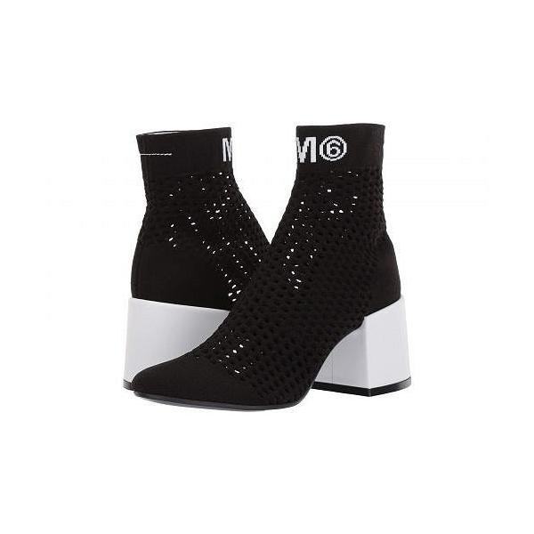 MM6 Maison Margiela エムエムシックス レディース 女性用 シューズ 靴 ブーツ アンクルブーツ ショート Open Knit Sock Bootie - Black Collage