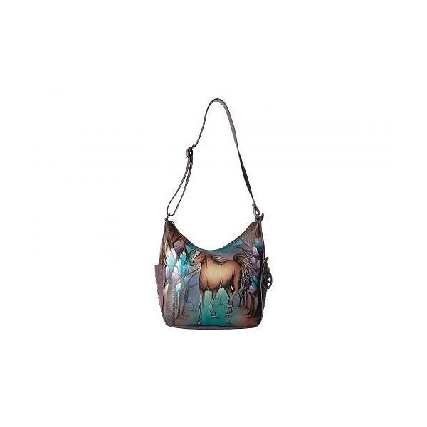 Anuschka Handbags アヌシュカハンドバッグ レディース 女性用 バッグ 鞄 ショルダーバッグ バックパック リュック 433 Classic Hobo With Studded Side
