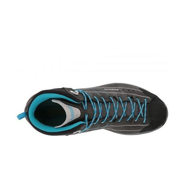 Asolo アゾロ レディース 女性用 シューズ 靴 ブーツ ハイキングブーツ Nucleon Mid GV ML - Graphite/Silver/Cyan Blue