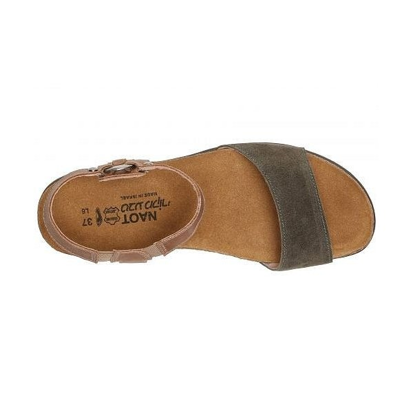 Naot ナオト レディース 女性用 シューズ 靴 サンダル Sabrina - Oily Olive Suede/Latte Brown Leather